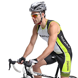 cheap Triathlon Clothing-Nuckily Men's Short Sleeve Triathlon Tri Suit Green Stripes Bike Breathable Anatomic Design Ultraviolet Resistant Sports Polyester Spandex Stripes Triathlon Clothing Apparel / Stretchy / Advanced