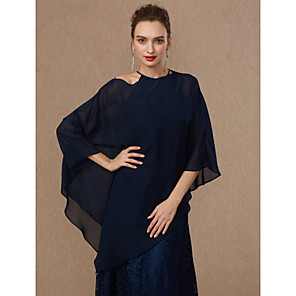 cheap Wedding Wraps-Sleeveless Ponchos Chiffon Wedding / Party / Evening Women's Wrap With Draping / Solid