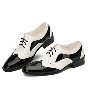 cheap Ballroom Shoes & Modern Dance Shoes-Men's Dance Shoes Patent Leather Swing Shoes Flat Flat Heel Customizable Black / White / Performance / EU43