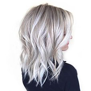 cheap Synthetic Trendy Wigs-Human Hair Blend Wig Medium Length Deep Wave Short Hairstyles 2020 With Bangs Deep Wave Ombre Hair Side Part Machine Made Women's Black / Grey 14 inch