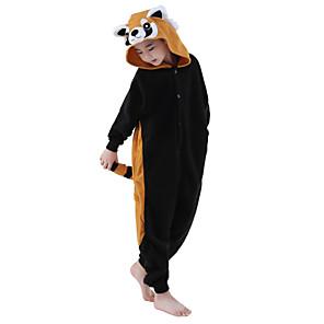 cheap Kigurumi Pajamas-Kid's Kigurumi Pajamas Raccoon Onesie Pajamas Polar Fleece Black Cosplay For Boys and Girls Animal Sleepwear Cartoon Festival / Holiday Costumes