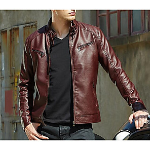 cheap Backpacks & Bags-Men's Going out Street chic Fall / Winter Regular Leather Jacket, Solid Colored Stand Long Sleeve PU Brown / Black / Red