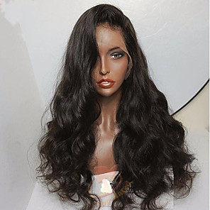 cheap Human Hair Wigs-Human Hair Glueless Lace Front Lace Front Wig style Brazilian Hair Body Wave Wig 130% Density with Baby Hair Natural Hairline Unprocessed Pre-Plucked Women's Short Medium Length Long Human Hair Lace