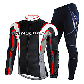 cheap Cycling Jersey & Shorts / Pants Sets-Nuckily Men's Long Sleeve Cycling Jersey with Tights Winter Fleece Polyester Velvet Black Patchwork Geometic Bike Clothing Suit Thermal / Warm Waterproof Fleece Lining Reflective Strips Sports