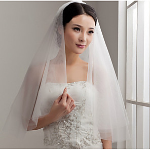cheap Wedding Veils-Two-tier Cut Edge Wedding Veil with Ruffles Tulle / Classic