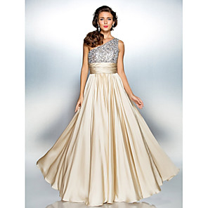 cheap Classical-A-Line Sparkle Gold Prom Formal Evening Dress One Shoulder Sleeveless Floor Length Chiffon Over Satin with Sequin 2020