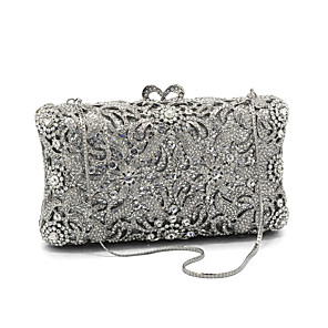 cheap Clutches & Evening Bags-Women's Crystals Glasses / Metal Evening Bag Floral Print Silver