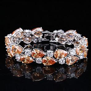 cheap Earrings-Women's Synthetic Diamond Bracelet Rhinestone Bracelet Jewelry White / Purple / Orange For Wedding Party / Silver Plated