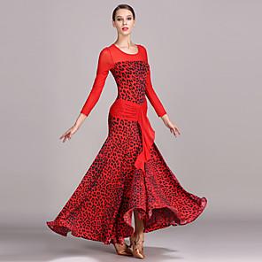povoljno Svečana plesna odjeća-Klasični plesovi Haljina Uzorak / print Žene Seksi blagdanski kostimi Dugih rukava Visok Til Umjetna svila