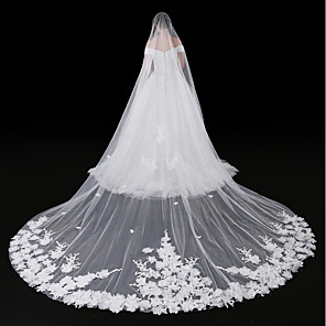 cheap Wedding Veils-One-tier Modern Style / Accessories / Flower Style Wedding Veil Blusher Veils / Chapel Veils with Appliques Tulle / Angel cut / Waterfall / Lace Applique Edge