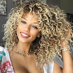 cheap Human Hair Wigs-Synthetic Wig Afro Kinky Curly Shakira Kinky Curly Afro Bob With Bangs Wig Blonde Blonde Synthetic Hair Women's Side Part African American Wig Blonde