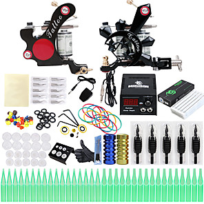 cheap Tattoo Machines-Professional Tattoo Kit Tattoo Machine - 2 pcs Tattoo Machines, Professional LCD power supply 2 alloy machine liner & shader