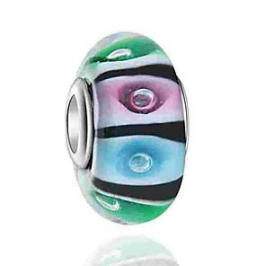cheap Beads-DIY Jewelry 1 pcs Beads Coloured Glaze Alloy Rainbow Round Bead 0.5 cm DIY Necklace Bracelet