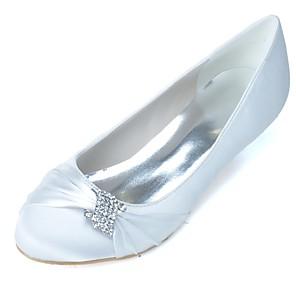 cheap Wedding Shoes-Women's Wedding Shoes Kitten Heel Round Toe Rhinestone Satin Basic Pump Spring / Summer Black / White / Purple / Party & Evening