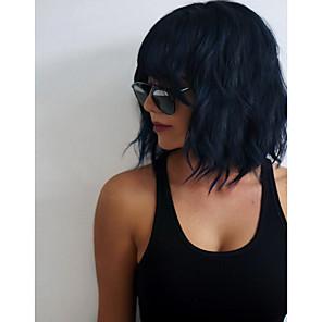 cheap Synthetic Trendy Wigs-Synthetic Wig Wavy Kardashian Wavy With Bangs Wig Medium Length Black#1B Synthetic Hair 14 inch Women's Black