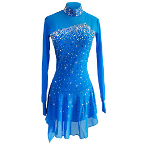 cheap Ice Skating Dresses , Pants & Jackets-SKMEI Figure Skating Dress Women's Girls' Ice Skating Dress Sky Blue Spandex Stretch Yarn Stretchy Competition Skating Wear Sequin Long Sleeve Figure Skating