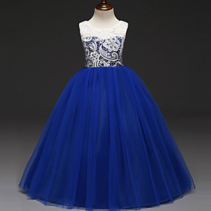 cheap Movie & TV Theme Costumes-Kids Girls' Sweet Princess Party Color Block Lace Sleeveless Dress Purple / Cotton