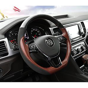 cheap Steering Wheel Covers-Steering Wheel Covers Genuine Leather 38cm Black / Coffee For Volkswagen Teramont 2017