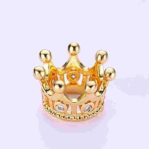 cheap Beads-DIY Jewelry 1 pcs Beads Imitation Diamond Alloy Gold Silver Crown Bead 0.5 cm DIY Necklace Bracelet