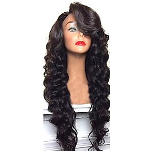 cheap Human Hair Wigs-Virgin Human Hair Remy Human Hair Glueless Lace Front Lace Front Wig style Brazilian Hair Body Wave Deep Wave Wig 130% 150% 180% Density with Baby Hair Natural Hairline African American Wig