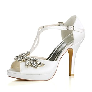 cheap Wedding Shoes-Women's Wedding Shoes Glitter Crystal Sequined Jeweled Stiletto Heel Peep Toe Crystal / Buckle Stretch Satin Basic Pump Summer Ivory / Party & Evening