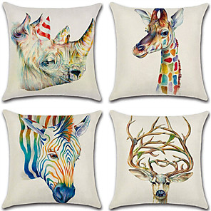 cheap Abstract Paintings-Cushion Cover 4PC Linen Soft Decorative Square Throw Pillow Cover Cushion Case Pillowcase for Sofa Bedroom 45 x 45 cm (18 x 18 Inch) Superior Quality Mashine Washable Pack of 4