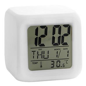 cheap Alarm Clocks-Colorful Glowing Cubic Digital Alarm Clock Calendar Thermometer 1pc(White, 4xAAA)