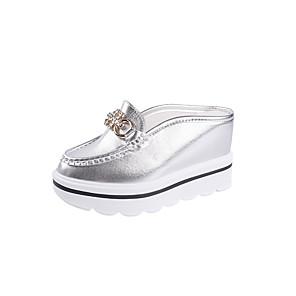 cheap Women's Sandals-Women's Sandals Wedge Sandals Summer Wedge Heel Comfort Outdoor PU White / Gold / Silver