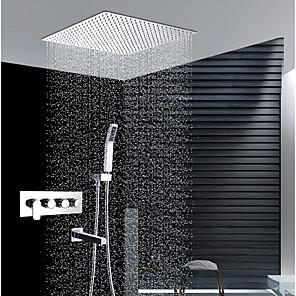 povoljno Kuhinjski sudoperi-Slavina za tuš - Suvremena Chrome Zidna ugradnja Keramičke ventila Bath Shower Mixer Taps / Brass / Četiri Ručke četiri otvora