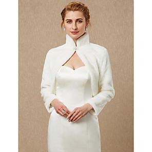 cheap Wedding Wraps-Long Sleeve Shrugs Faux Fur Wedding / Party / Evening Women's Wrap With Rhinestone