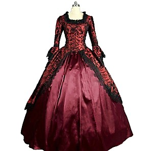 cheap Historical & Vintage Costumes-Marie Antoinette Rococo Victorian 18th Century Dress Masquerade Women's Lace Satin Costume Red Vintage Cosplay Party Prom 3/4 Length Sleeve Floor Length Long Length Ball Gown Plus Size Customized