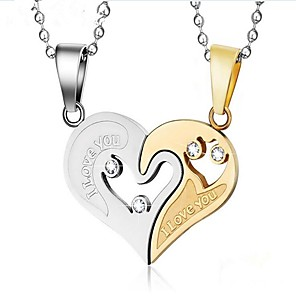 cheap Pendant Necklaces-Men's Women's Cubic Zirconia Pendant Necklace Engraved Mother Daughter Broken Heart Heart life Tree Best Friends Friendship Hollow Heart Fashion Sister Stainless Steel Titanium Steel Black Gold