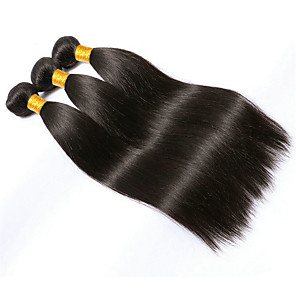 cheap Human Hair Weaves-3 Bundles Brazilian Hair Straight Virgin Human Hair 150 g Natural Color Hair Weaves / Hair Bulk Black Human Hair Weaves Human Hair Extensions / 10A