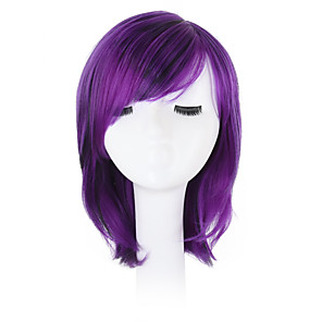 cheap Synthetic Lace Wigs-Synthetic Wig Wavy Wavy Bob Pixie Cut With Bangs Wig Bright Purple Synthetic Hair Natural Hairline Side Part African American Wig Purple