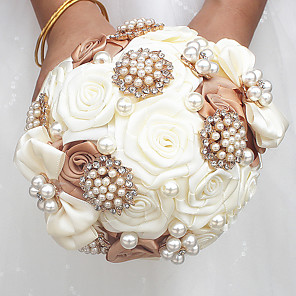 "cheap Wedding Flowers-Wedding Flowers Bouquets Wedding Bead / Crystal / Rhinestone / Satin 9.06""(Approx.23cm)"