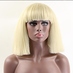 cheap Synthetic Trendy Wigs-Synthetic Wig Wavy Wavy With Bangs Wig Blonde Medium Length Blonde Synthetic Hair Women's African American Wig Blonde
