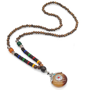 cheap Necklaces-Women's Topaz Pendant Necklace Collar Necklace Ladies Bohemian Fashion Boho Alloy Yellow Necklace Jewelry 1pc For Wedding Daily / Long Necklace