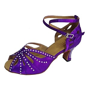 cheap Latin Shoes-Women's Dance Shoes Satin Latin Shoes Sandal Customized Heel Customizable Black / Purple / Navy / EU41