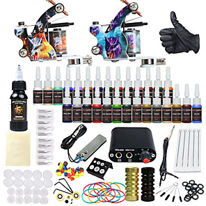 cheap Starter Tattoo Kits-DRAGONHAWK Tattoo Machine Starter Kit - 2 pcs Tattoo Machines with 1 x 30 ml / 28 x 5 ml tattoo inks, Voltage Adjustable, Best Quality, Easy to Setup Alloy Mini power supply Case Not Included 2 alloy