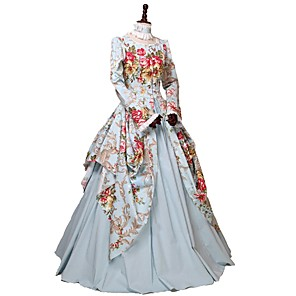 cheap Historical & Vintage Costumes-Princess Victorian Women's Cotton Costume Ocean Blue Vintage Cosplay Party Carnival Prom Floor Length Long Length Plus Size Customized