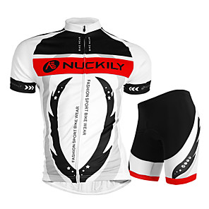 cheap Cycling Jersey & Shorts / Pants Sets-Nuckily Men's Short Sleeve Cycling Jersey with Shorts White Bike Shorts Jersey Clothing Suit Waterproof Breathable Ultraviolet Resistant Waterproof Zipper Reflective Strips Sports Polyester Elastane