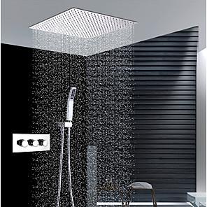 povoljno Kuhinjski sudoperi-Slavina za tuš - Suvremena Chrome Zidna ugradnja Keramičke ventila Bath Shower Mixer Taps / Brass / Tri Ručke tri rupe