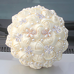 "cheap Wedding Flowers-Wedding Flowers Bouquets Wedding Bead / Crystal / Rhinestone / Satin 9.84""(Approx.25cm)"