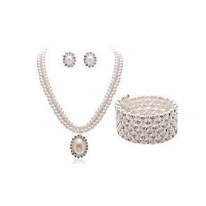 cheap Jewelry Sets-Women's Bead Bracelet Bridal Jewelry Sets European Fashion Imitation Pearl Imitation Diamond Earrings Jewelry White For Wedding Party / Body Jewelry