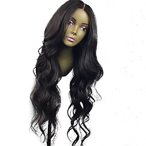 cheap Human Hair Wigs-Human Hair Glueless Lace Front Lace Front Wig style Brazilian Hair Wavy Natural Wave Wig 130% Density 10-24 inch with Baby Hair Natural Hairline 100% Virgin Unprocessed Pre-Plucked Women's Medium