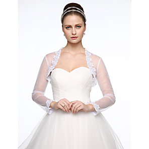 cheap Wedding Wraps-Long Sleeve Shrugs Lace / Tulle Wedding / Party / Evening Women's Wrap With Appliques