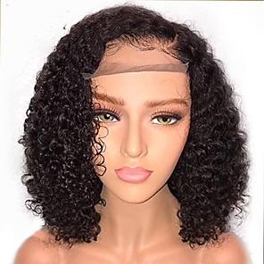 cheap Human Hair Wigs-Human Hair Glueless Lace Front Lace Front Wig Bob style Brazilian Hair Curly Wig 130% Density with Baby Hair Natural Hairline African American Wig 100% Virgin Unprocessed Women's Short Human Hair
