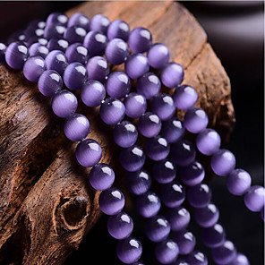 cheap Beads-DIY Jewelry 46 pcs Beads Synthetic Gemstones Purple Round Bead 0.8 cm DIY Necklace Bracelet