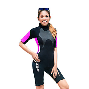cheap Wetsuits, Diving Suits & Rash Guard Shirts-HISEA® Women's Shorty Wetsuit 3mm SCR Neoprene Diving Suit Short Sleeve Back Zip Classic Spring Summer Winter / Stretchy
