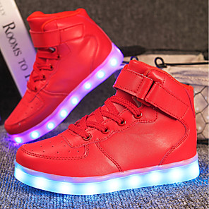 cheap Kids' LED Shoes-Girls' LED / LED Shoes / USB Charging Customized Materials / Leatherette Sneakers Little Kids(4-7ys) / Big Kids(7years +) Walking Shoes Lace-up / Hook & Loop / LED White / Black / Red Spring / Winter